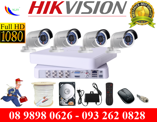 TRỌN BỘ 4 CAMERA HIKVISION FULL HD 2.0MP