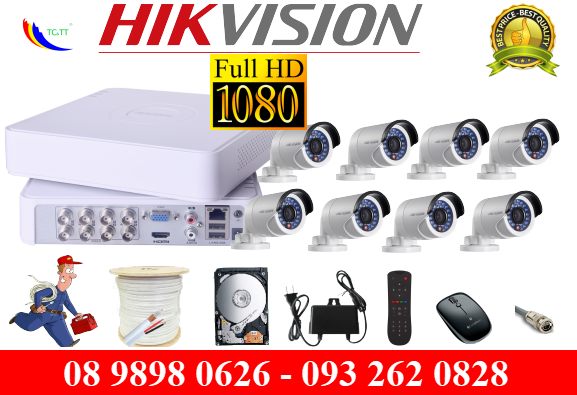 TRỌN BỘ 8 CAMERA HIKVISION FULL HD 2.0MP