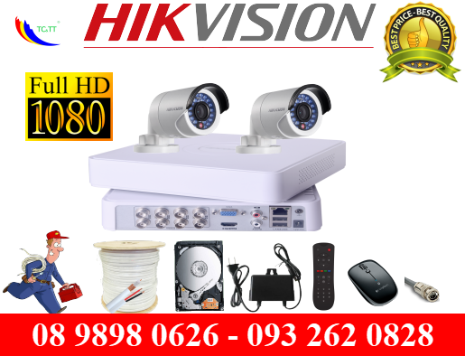 TRỌN BỘ 2 CAMERA HIKVISION FULL HD 2.0MP