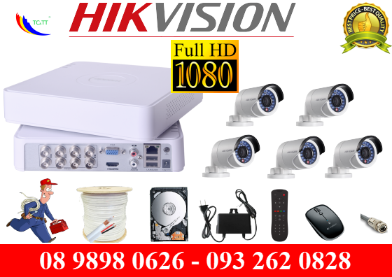 TRỌN BỘ 5 CAMERA HIKVISION FULL HD 2.0MP