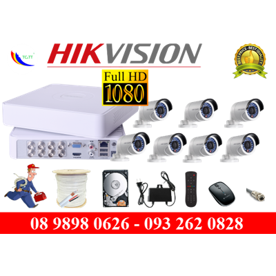 TRỌN BỘ 7 CAMERA HIKVISION FULL HD 2.0MP