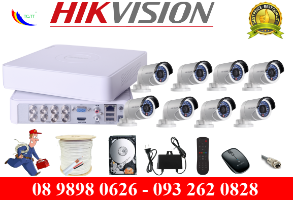 Trọn bộ 8 camera Hikvision HD 1.0 MP