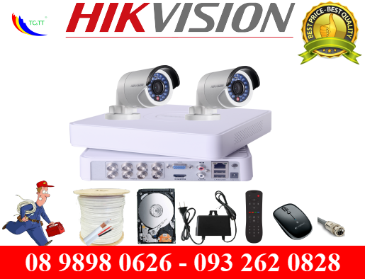 Trọn bộ 2 camera Hikvision HD 1.0 MP