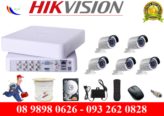 Trọn bộ 5 camera Hikvision HD 1.0 MP