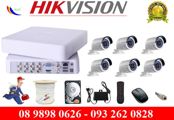 Trọn bộ 6 camera Hikvision HD 1.0 MP
