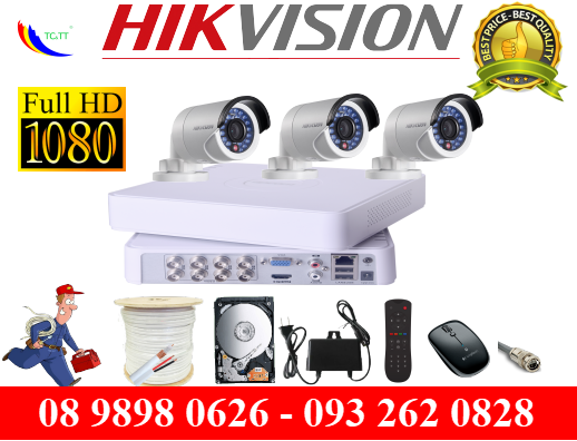TRỌN BỘ 3 CAMERA HIKVISION FULL HD 2.0MP