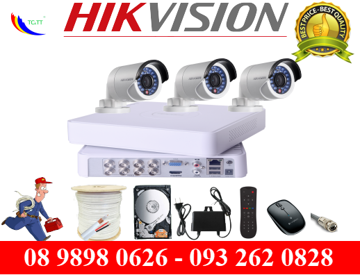 Trọn bộ 3 camera Hikvision HD 1.0 MP